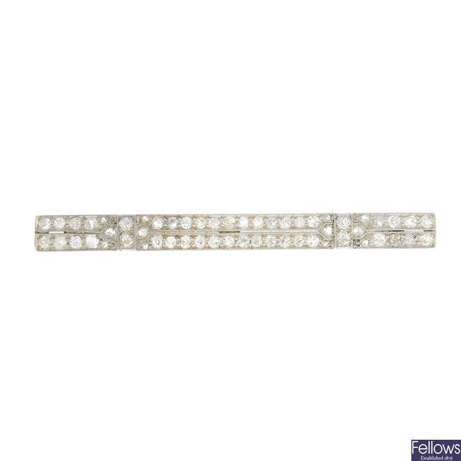 An early 20th century platinum diamond brooch.