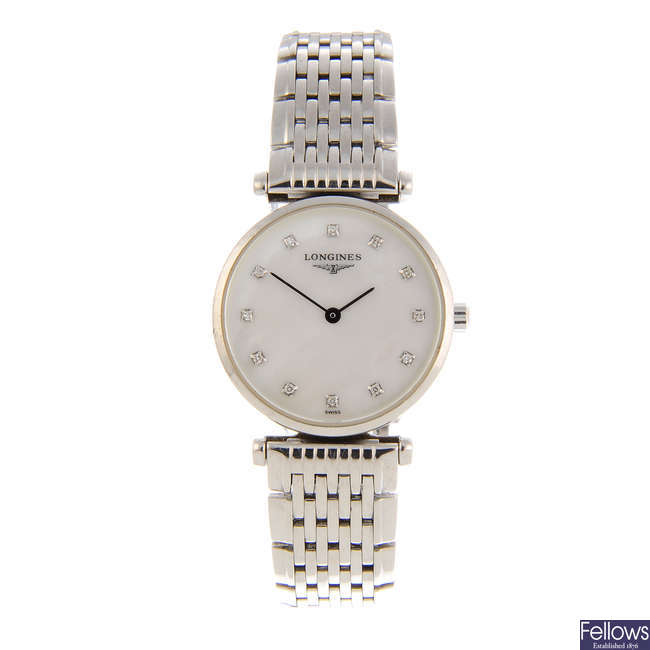 LONGINES - a lady's stainless steel La Grande Classquie bracelet watch with two Longines wrist watches.