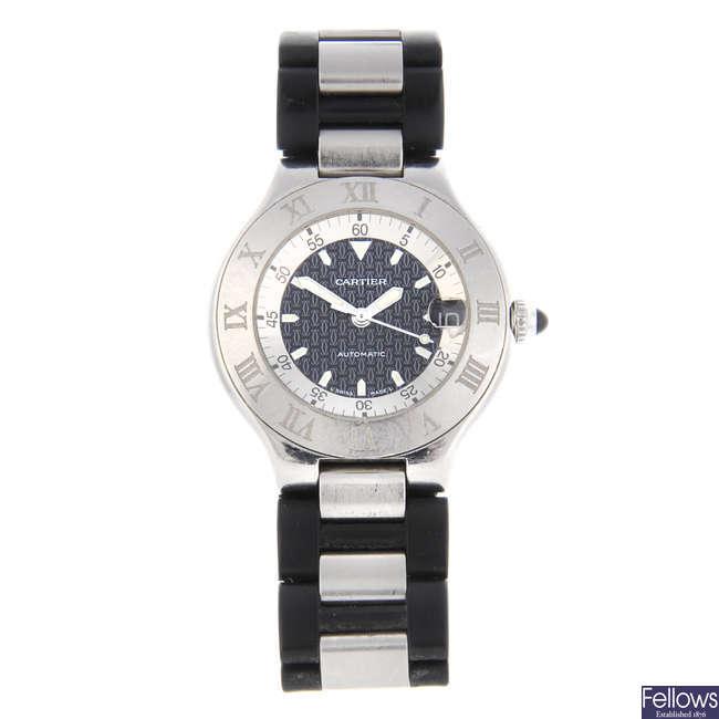 CARTIER - a stainless steel Autoscaph 21 wrist watch.