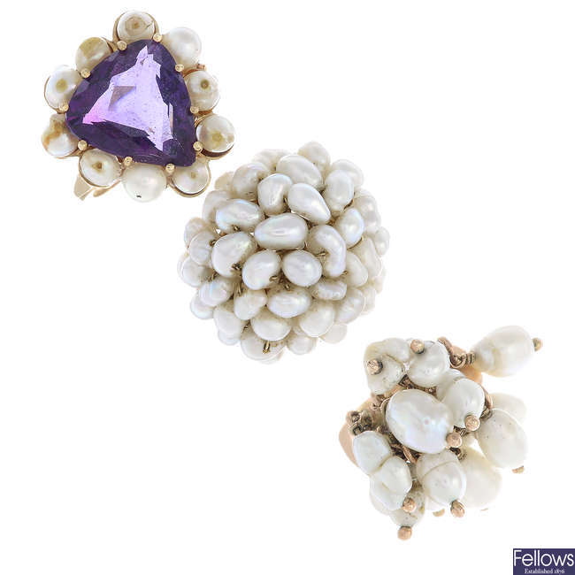 Three cultured pearl and gem-set rings.