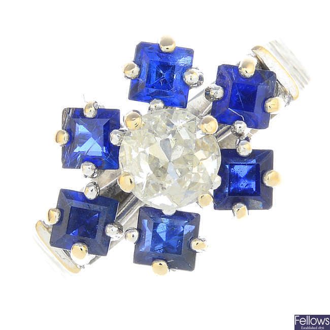 A 1970s 18ct gold sapphire and diamond floral cluster ring.