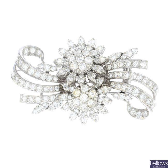 A mid 20th century diamond spray brooch.