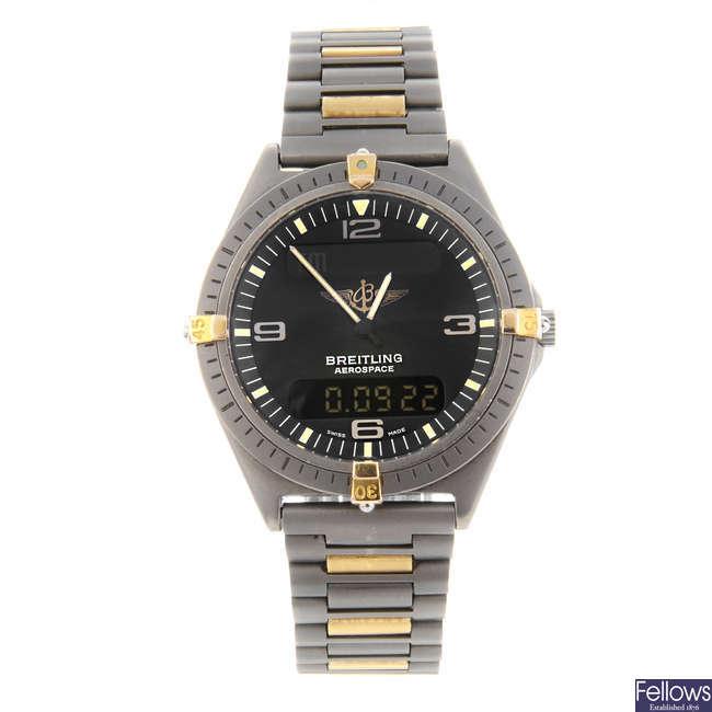BREITLING - a gentleman's titanium Professional Aerospace chronograph bracelet watch.