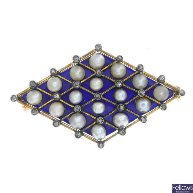 An early 20th century gold enamel, diamond and seed pearl brooch.