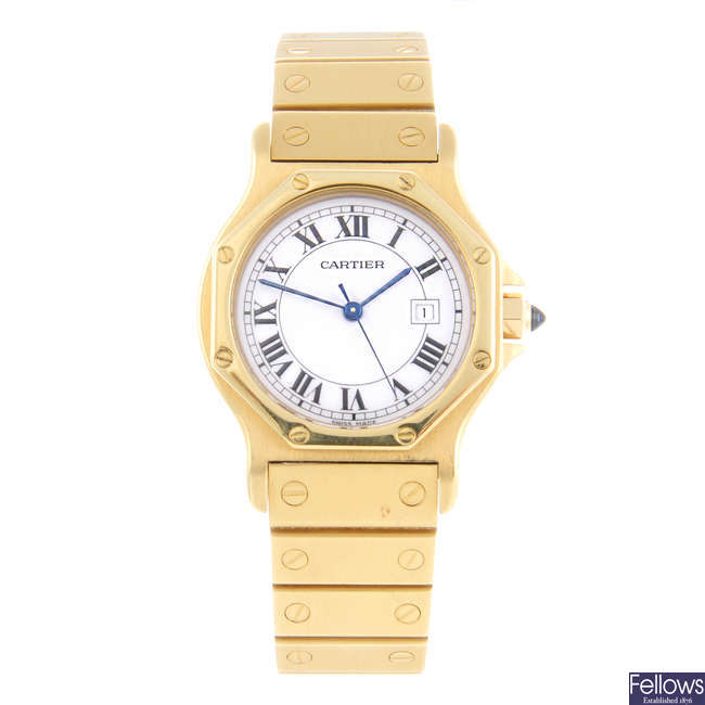 CARTIER - an 18ct yellow gold Santos Ronde bracelet watch.