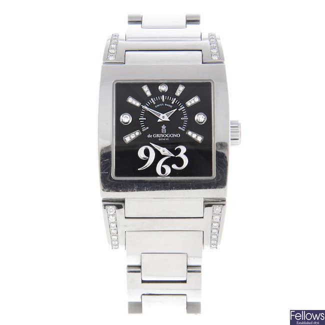 DE GRISOGONO - a lady's stainless steel Instrumentino bracelet watch.