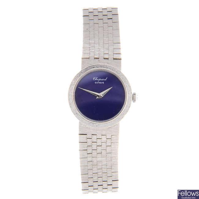 CHOPARD - a lady's white metal bracelet watch.