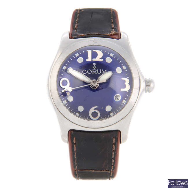 CORUM - a gentleman's stainless steel Bubble wrist watch.