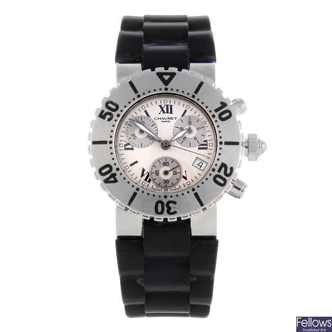 CHAUMET - a gentleman's stainless steel Class One chronograph wrist watch.