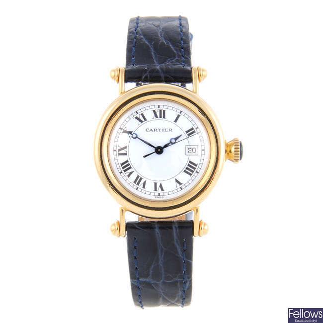 CARTIER - an 18ct yellow gold Diabolo wrist watch.