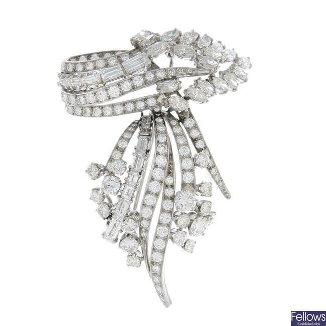 A mid 20th century diamond brooch.
