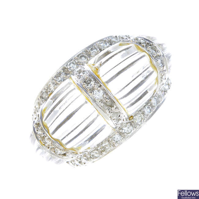 A diamond and rock crystal dress ring.