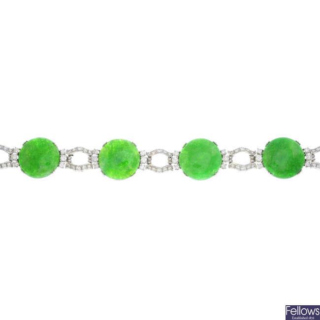An 18ct gold jade and diamond bracelet.