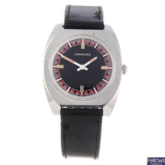 LONGINES - a gentleman's nickel plated British Crown Colony wrist watch.