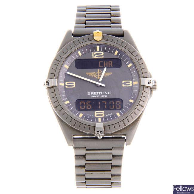 BREITLING - a gentleman's titanium Aerospace Navitimer bracelet watch.