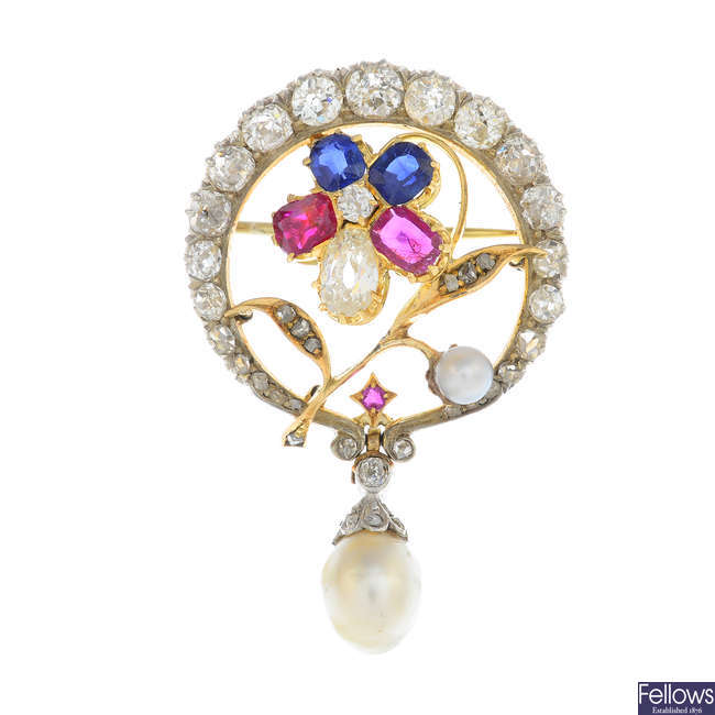 A diamond, sapphire, ruby, pearl and cultured pearl brooch.