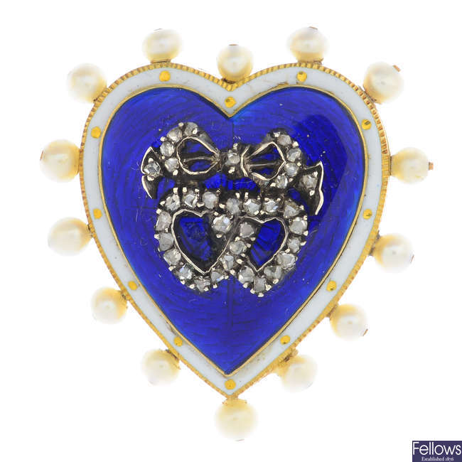 An early 20th century gold enamel, diamond and seed pearl heart brooch.