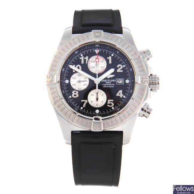 BREITLING - a gentleman's stainless steel Super Avenger chronograph wrist watch.