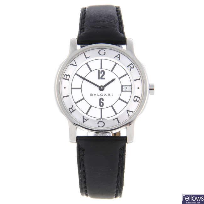 BULGARI - a gentleman's stainless steel Solotempo wrist watch.