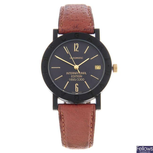 BULGARI - a limited edition mid-size carbon fibre International Edition wrist watch.