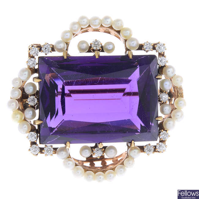 An early 20th century gold amethyst, diamond and seed pearl brooch.