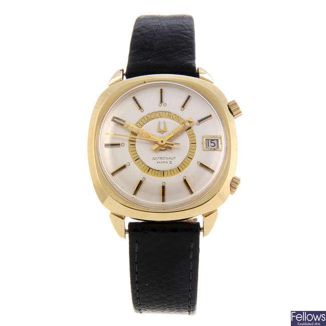 BULOVA - a gentleman's gold filled Astronaut Mark II wrist watch together with a gentleman's gold plated Bulova and Jaquet-Droz wrist watch.
