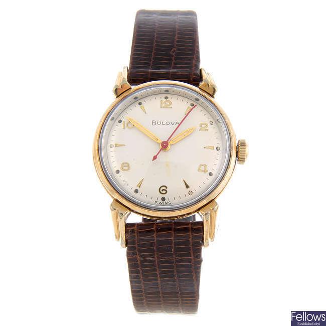 BULOVA - a gentleman's gold plated wrist watch together with two gold plated Bulova wrist watches.