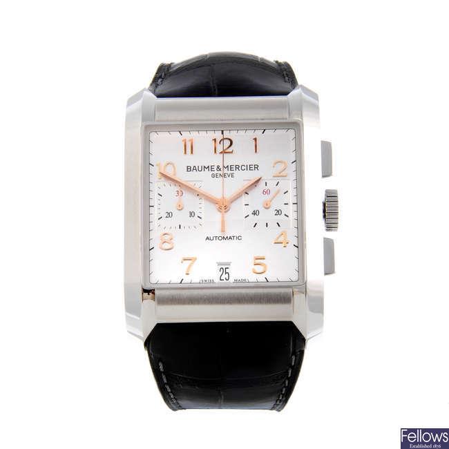 BAUME & MERCIER - a gentleman's stainless steel Hampton chronograph wrist watch.