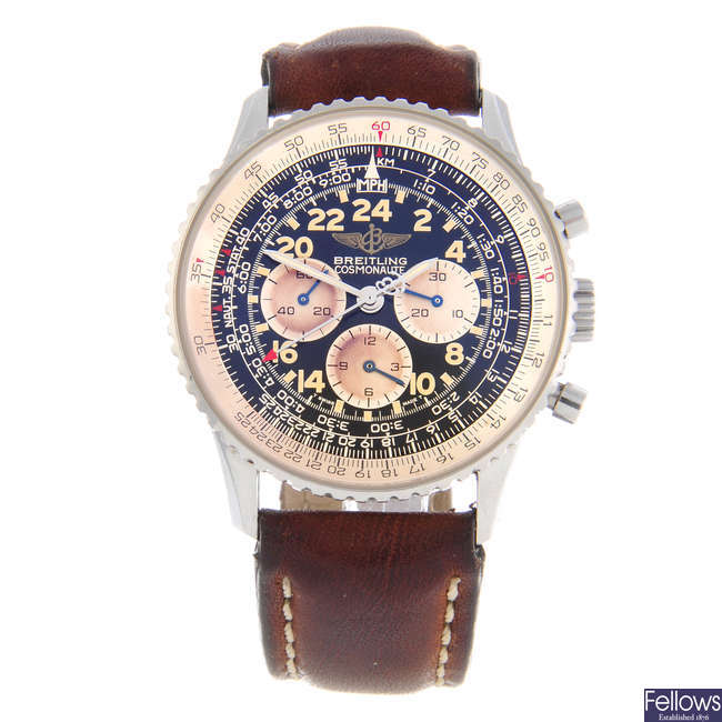BREITLING - a gentleman's stainless steel Navitimer Cosmonaute chronograph wrist watch.