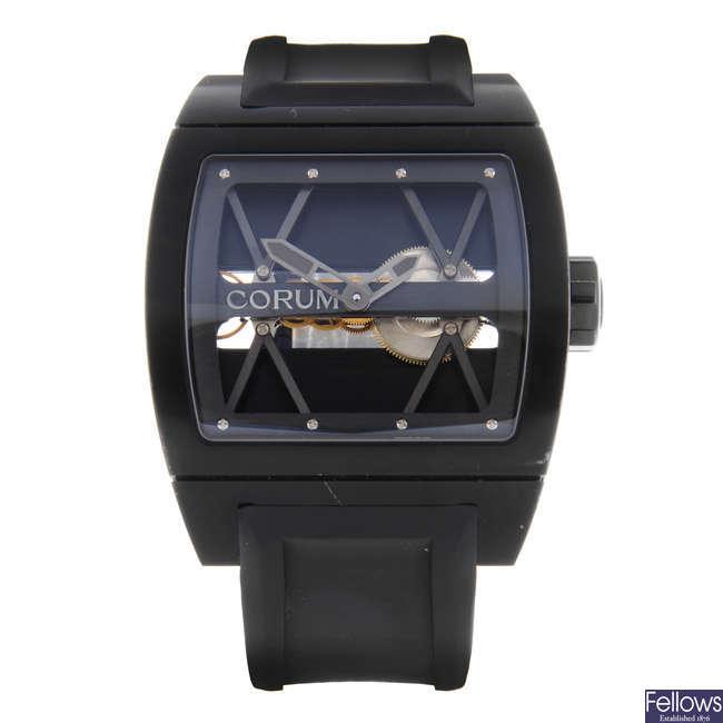 CORUM - a limited edition gentleman's PVD-treated titanium Ti-Bridge wrist watch.