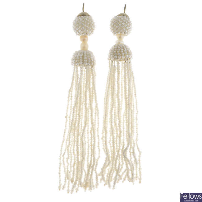 A pair of early 20th century 9ct gold seed pearl and cultured pearl tassel earrings.