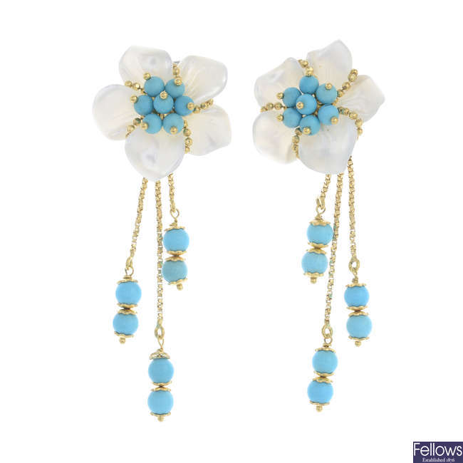 A pair of 18ct gold mother-of-pearl and turquoise earrings.