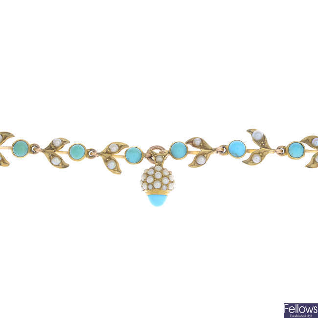 An early 20th century 14ct gold turquoise and split pearl foliate bracelet.