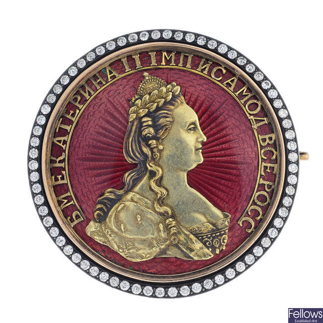 A Russian pre-Revolutionary gold, enamel coin brooch, depicting Catherine the Great.