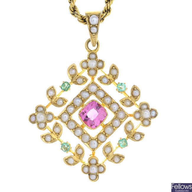 An early 20th century 15ct gold split pearl, tourmaline and emerald pendant, with chain.