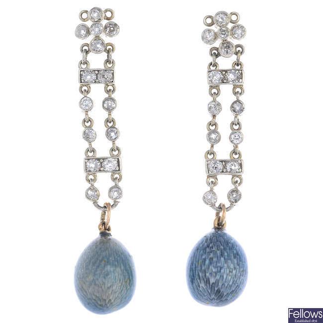 A pair of diamond and enamel earrings.