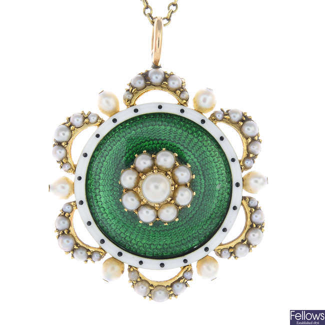 An early 20th century 15ct gold split pearl and enamel pendant, with chain.