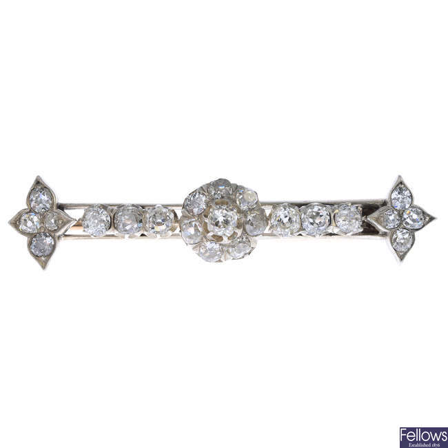 A late Victorian silver and gold, diamond bar brooch.