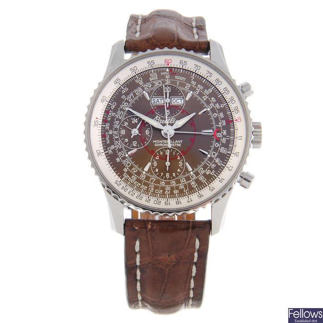 BREITLING - a gentleman's stainless steel Montbrillant Datora chronograph wrist watch.