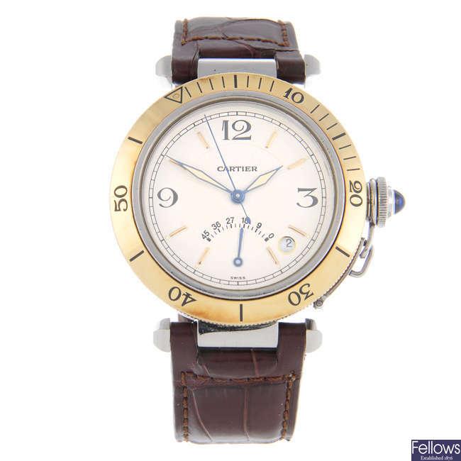 CARTIER - a bi-metal Pasha wrist watch.