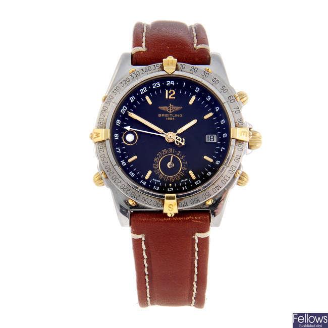BREITLING - a gentleman's bi-metal Duograph wrist watch.