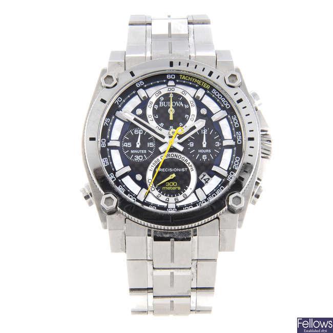 BULOVA - a gentleman's stainless steel Precisionist chronograph bracelet watch.