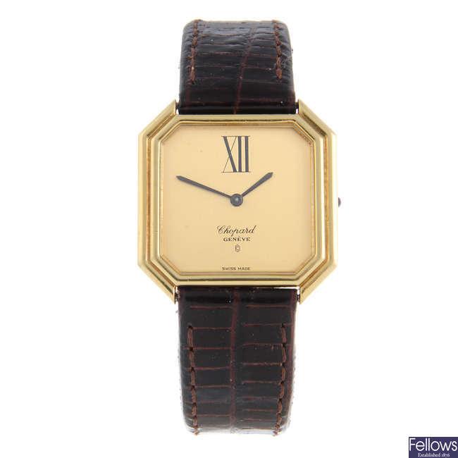 CHOPARD - a gentleman's yellow metal wrist watch.