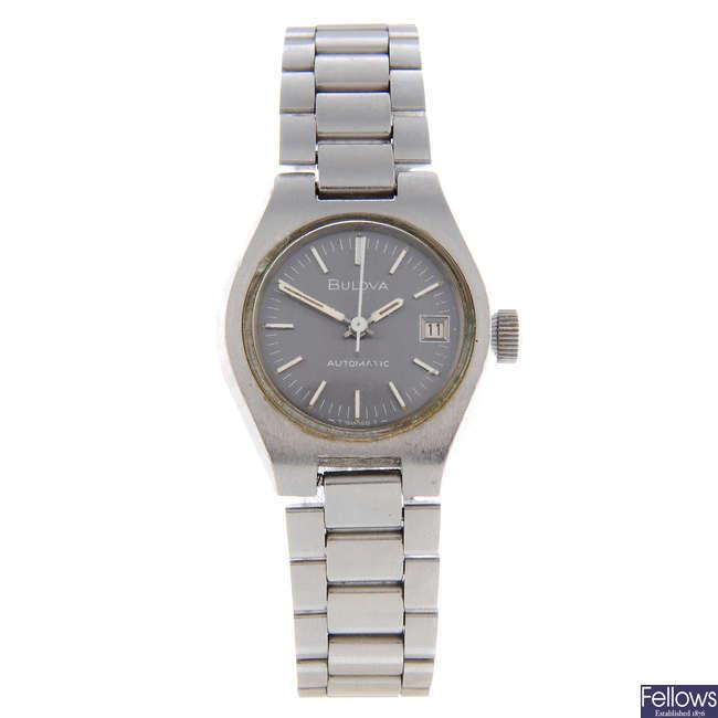 BULOVA - a lady's stainless steel bracelet watch.