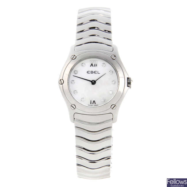 EBEL - a lady's stainless steel Classic Wave bracelet watch.