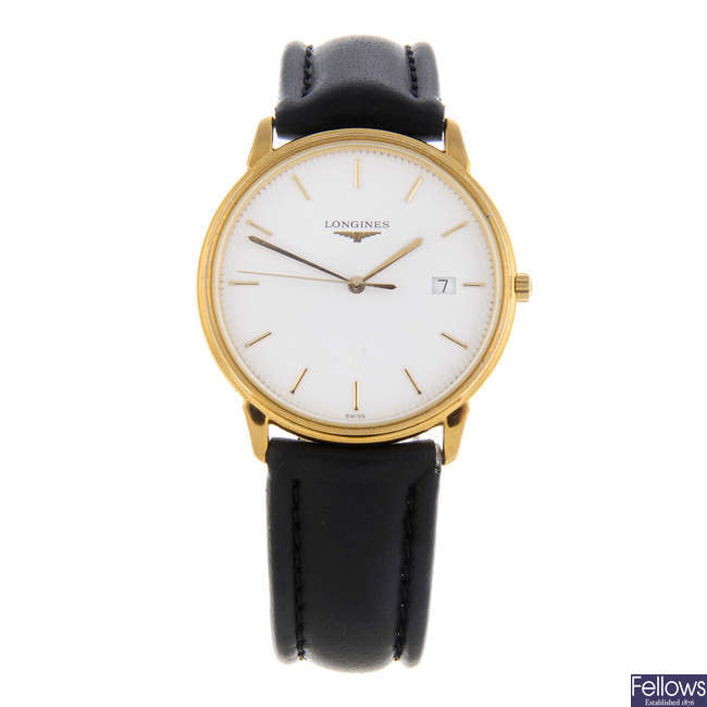 LONGINES - a gentleman's gold plated La Grande Classique wrist watch.