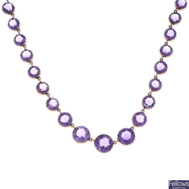 A late 19th century gold amethyst necklace.