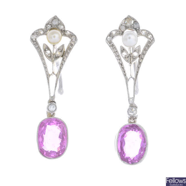 A pair of pink sapphire, seed pearl and diamond earrings.