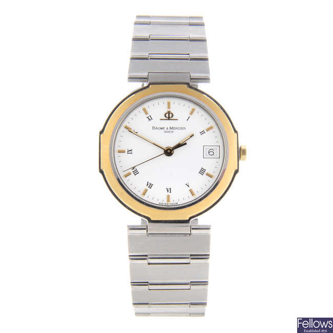 BAUME & MERCIER - a mid-size bi-colour Riviera bracelet watch.