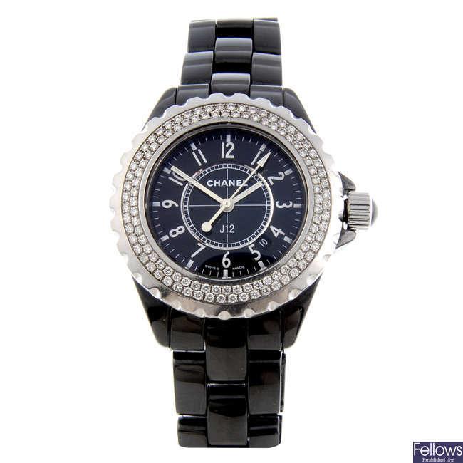 CHANEL - a lady's ceramic J12 bracelet watch.